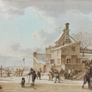 February: Men Cutting Ice on a Frozen Canal