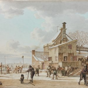 Février : Hommes coupant la glace sur un canal gelé