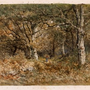 Woman Gathering Wood in the Forest