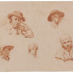 Five Head Studies Wearing Hat