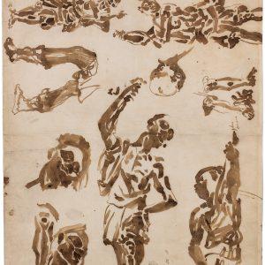 Études d'après des sculptures décoratives de nubiens porte-flambeaux