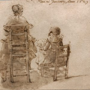 Woman and Child, Seen From the Back, Making Laces