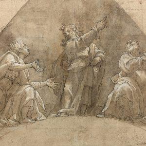 Projet de lunette : le Christ avec deux apôtres