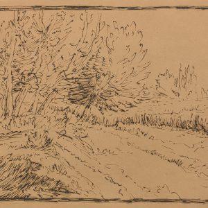 A Grove of Trees, a Path, and a Field near Vichy