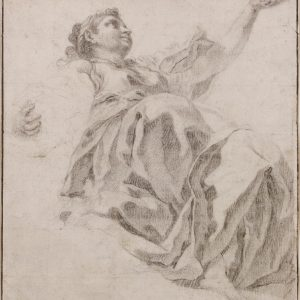 A Study of a Female Figure Cloaked in an Elaborate Drapery, her Left Arm Raised and Seen from Below