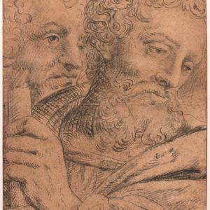 Étude de deux têtes d'hommes : Préparatoire pour le triptyque de