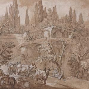 Paysage avec ruines, personnages et animaux